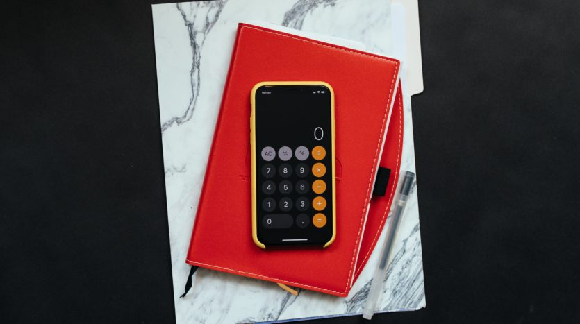 Calculator applications on a phone.