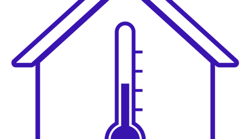 Graphic of house with temperature gauge.