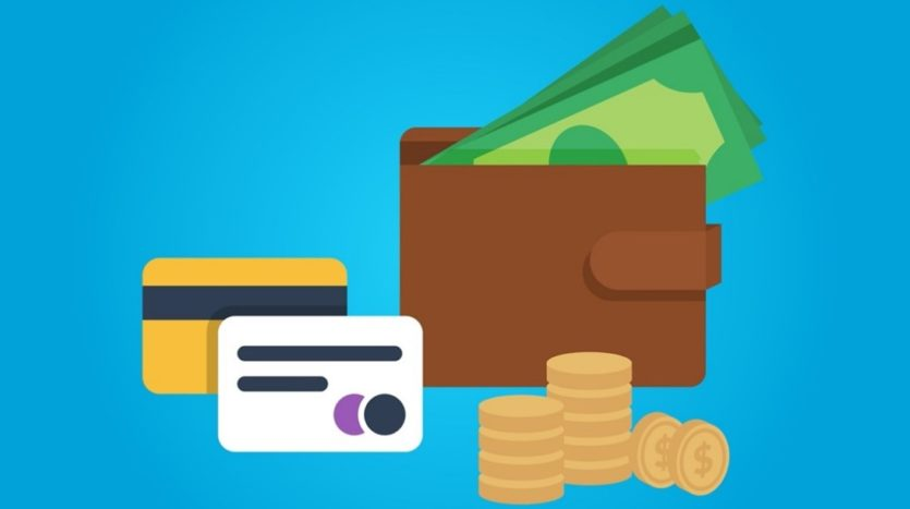 Graphic of wallet with bills and credit cards.