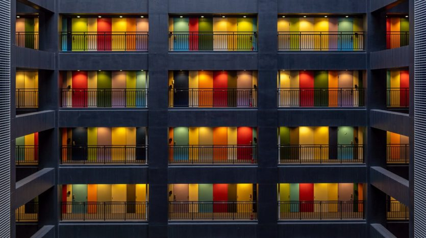 colourful doors in a condo