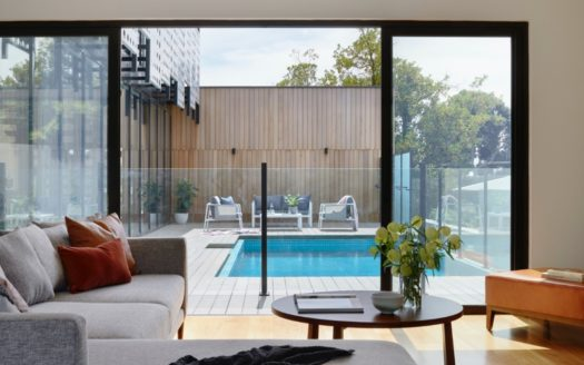 Backyard with a pool.