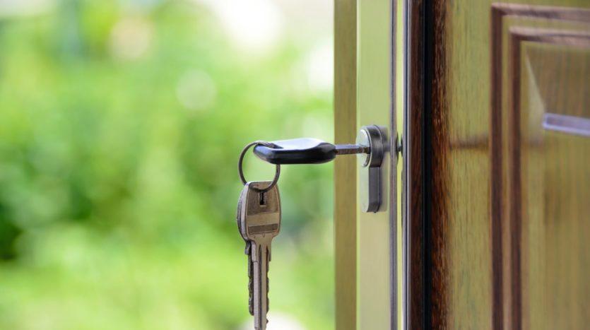 House key in a door.
