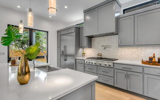 A renovated kitchen.